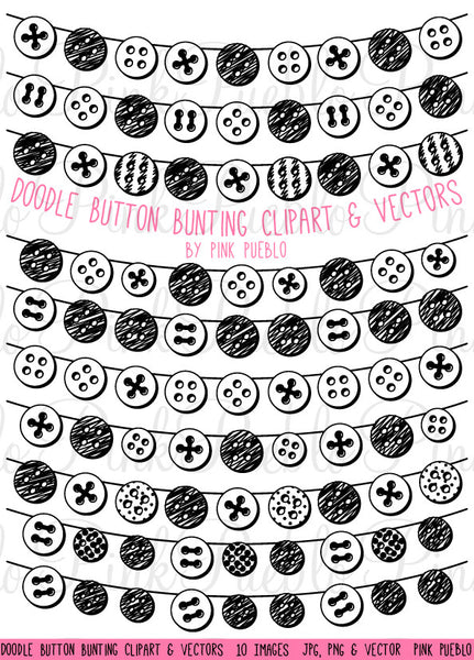 Doodle Button Bunting Clipart and Vectors