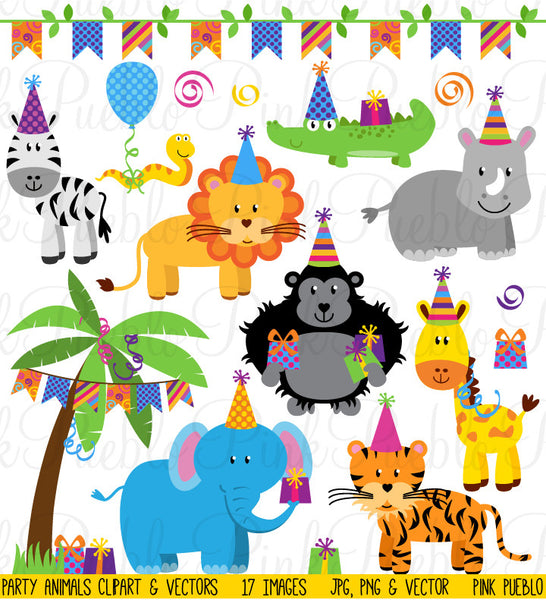 Birthday Party Animals Clipart and Vectors - PinkPueblo