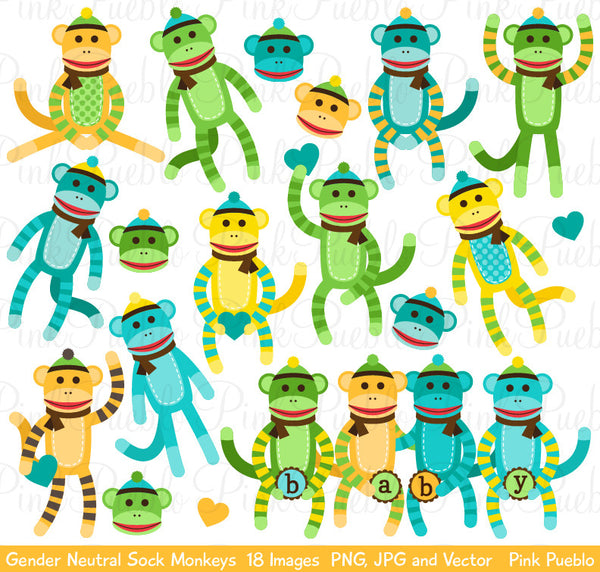 Gender Neutral Baby Sock Monkeys Clipart