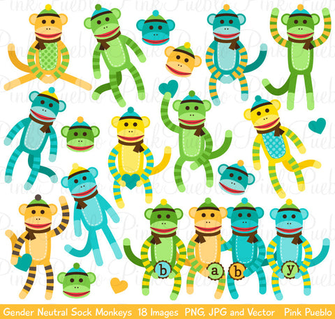 Gender Neutral Baby Sock Monkeys Clipart - PinkPueblo