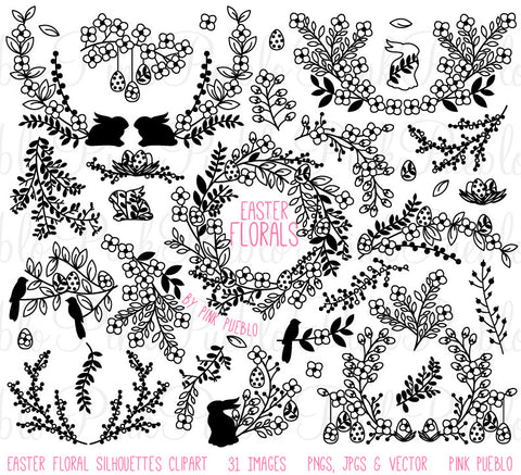 Vintage Easter Flowers and Laurels Clipart - PinkPueblo