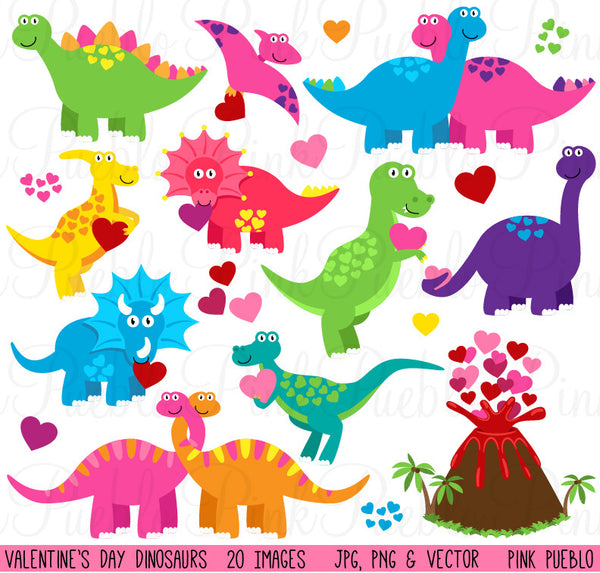 Valentine's Day Dinosaurs Clipart