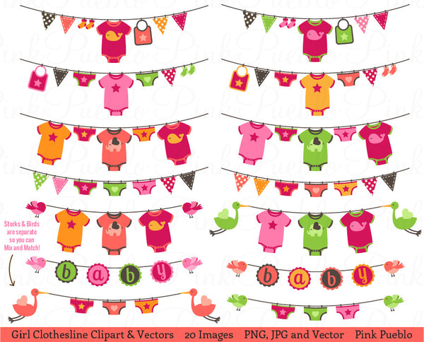 Baby Girl Bunting or Clothesline Clipart and Vectors - PinkPueblo