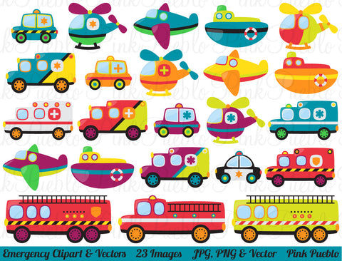 Emergency Vehicles Clipart and Vectors