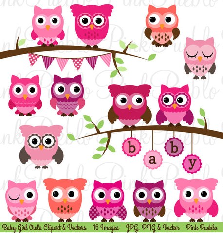 Girl Baby Shower Owl Clipart and Vectors