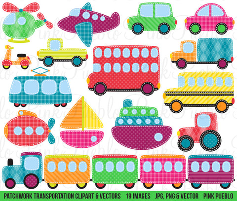 Patchwork Transportation Clipart and Vectors