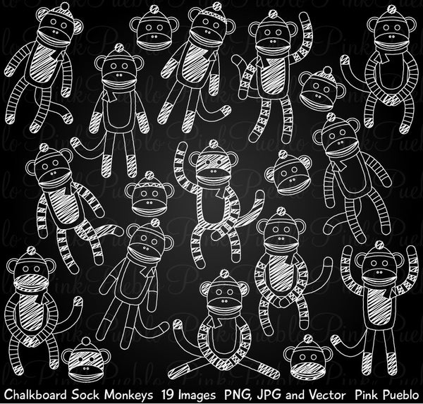 Chalkboard Sock Monkey Clipart & Vectors