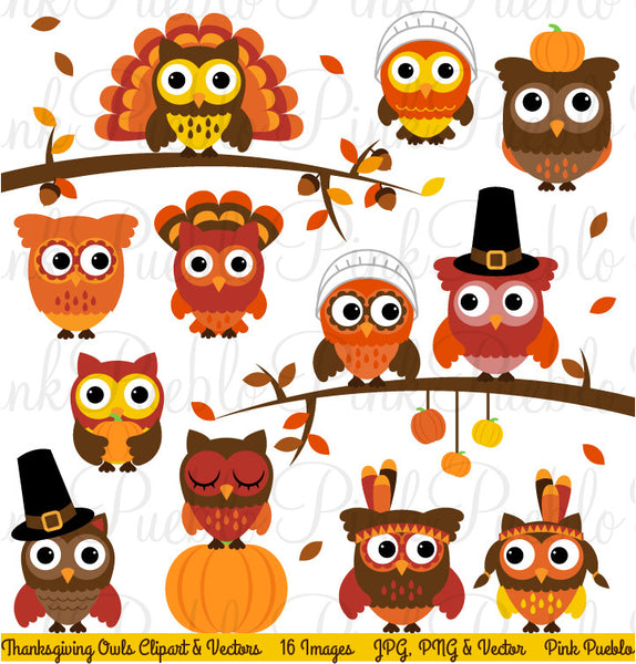 Thanksgiving Owl Clipart & Vectors - PinkPueblo