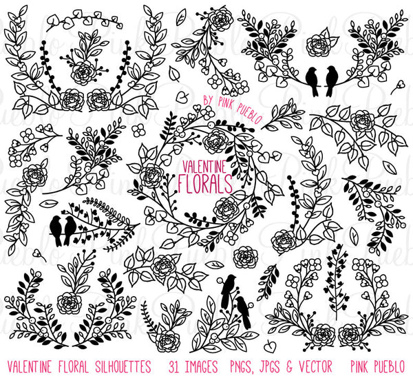 Valentine's Day or Wedding Laurels Clipart and Vectors