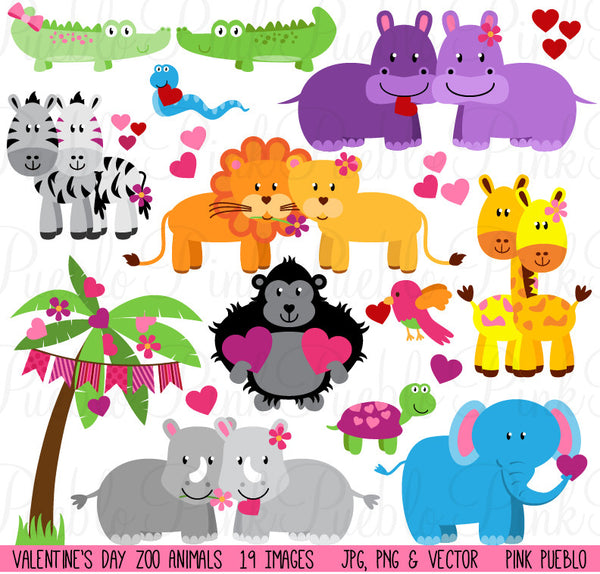 Valentine's Day Zoo & Jungle Animals Clipart - PinkPueblo