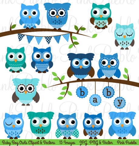 Boy Baby Shower Owl Clipart & Vector