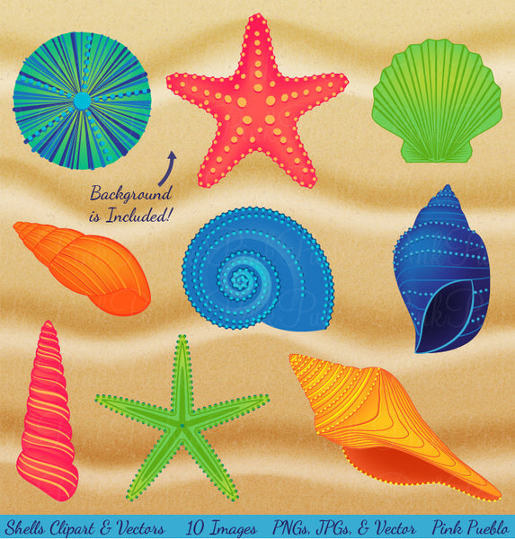Shells and Sand Clipart & Vectors