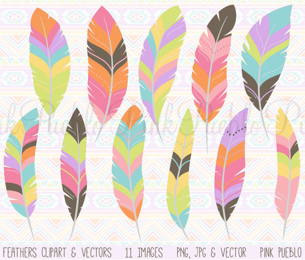Tribal Feather Clipart and Vectors - PinkPueblo