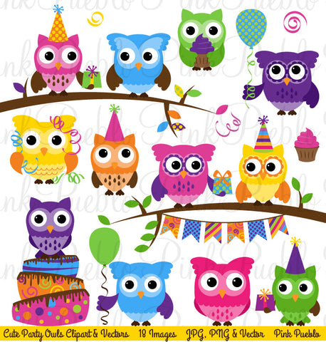 Birthday Party Owl Clipart & Vectors