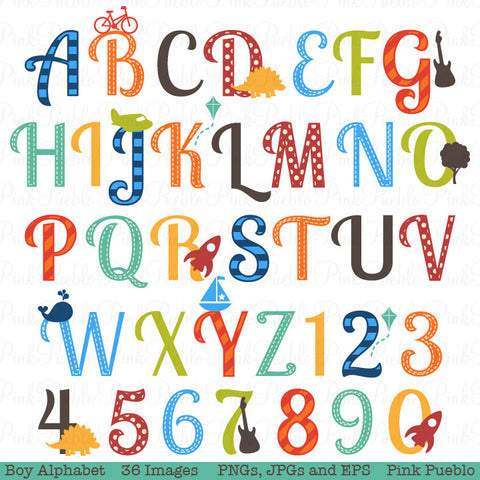 Boy Alphabet Clipart & Vectors, Uppercase and Numbers