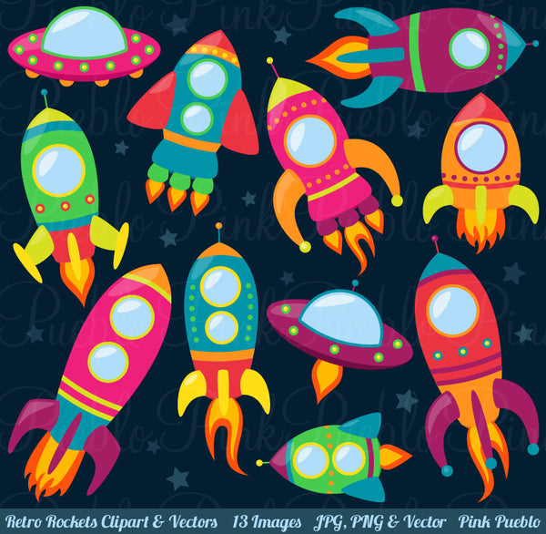 Retro Rockets Clipart and Vectors