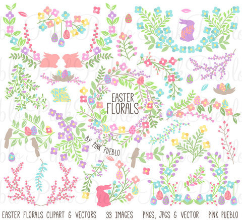 Vintage Easter Flowers & Laurels Clipart