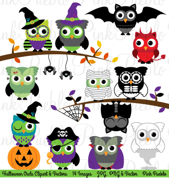Happy Halloween Owl Clipart & Vectors - PinkPueblo