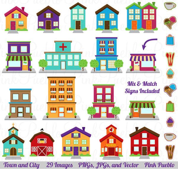 Town, City, Village Clipart & Vectors