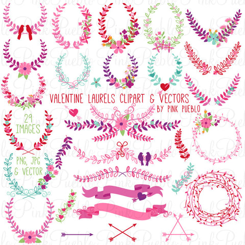 Valentine's Day Laurels and Wreaths Clipart