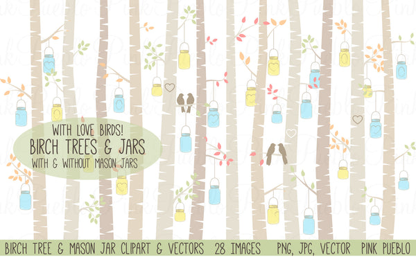 Birch Trees and Mason Jars Clipart - PinkPueblo