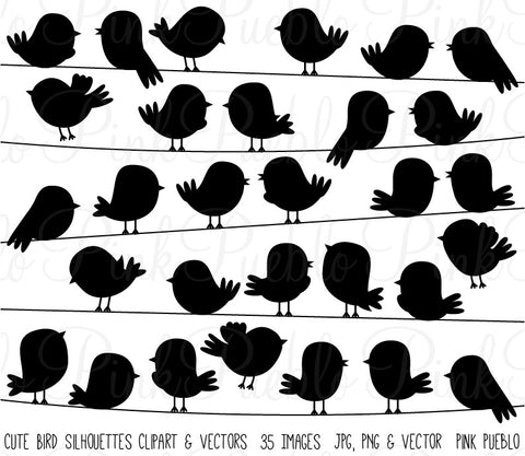 Cute Bird Silhouettes Clipart and Vectors