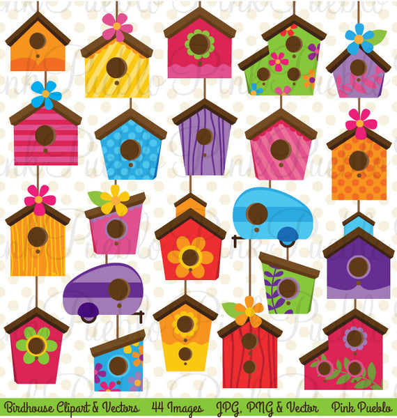 Cute Birdhouse Clipart and Vectors - PinkPueblo