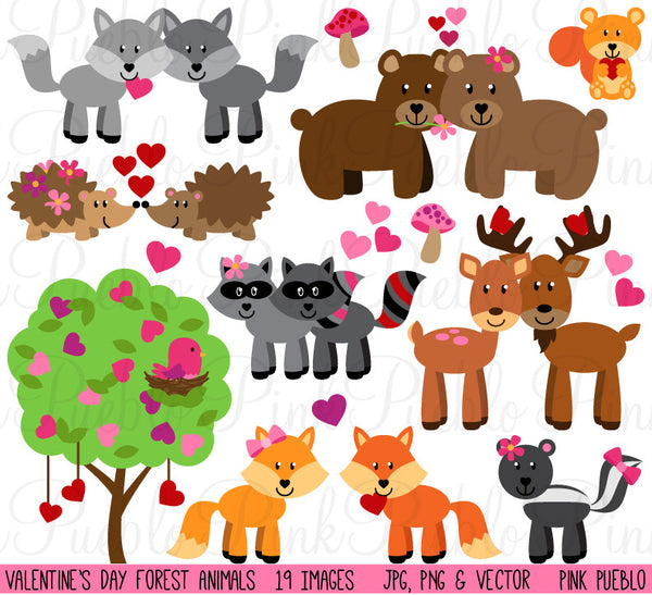 Valentine's Day Forest Animals Clipart