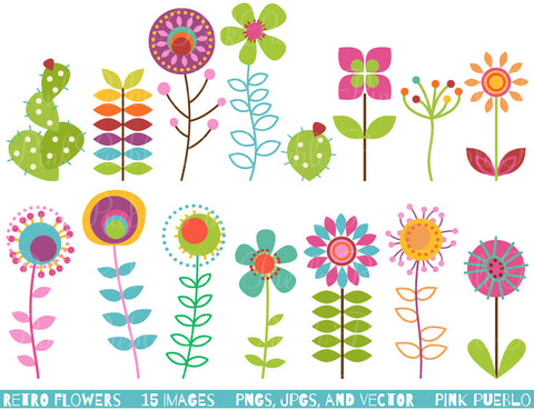 Retro Flowers Clipart & Vectors - PinkPueblo