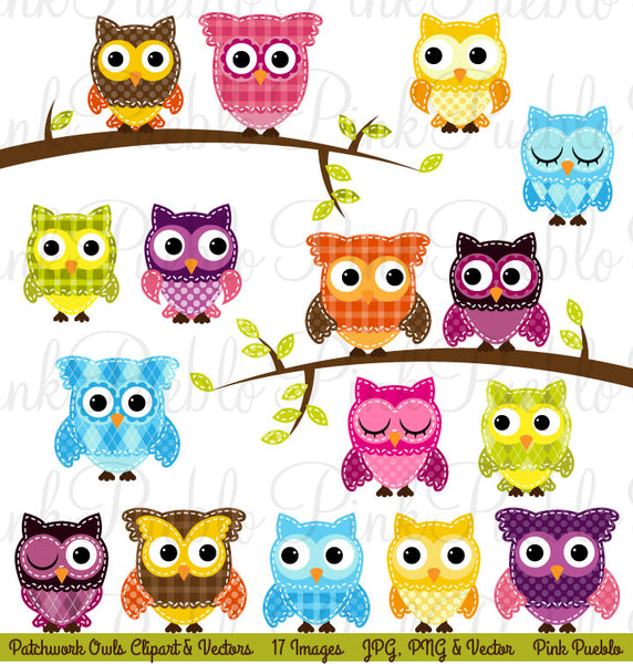 Patchwork Owls Clipart and Vectors - PinkPueblo