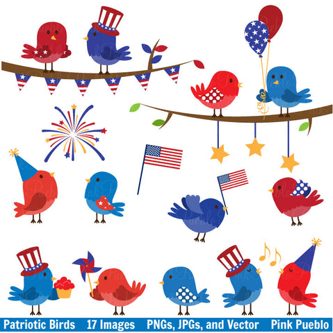 4th of July Birds Clipart & Vectors