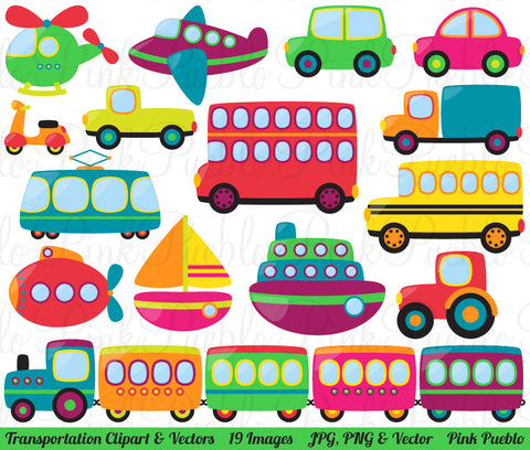 Transportation Clipart and Vectors - PinkPueblo