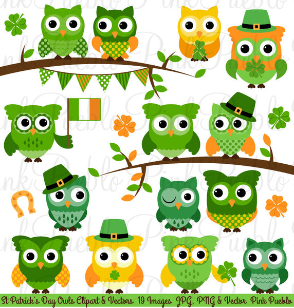 St. Patricks Day Owl Clipart Vectors