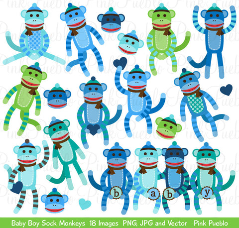 Baby Boy Sock Monkey Clipart and Vectors - PinkPueblo