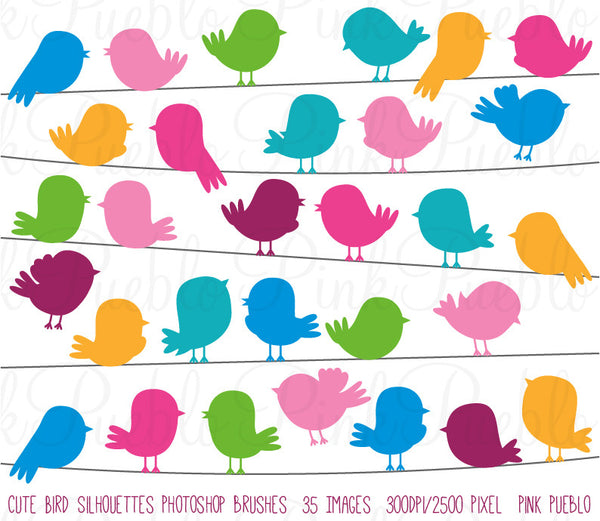 Cute Bird Silhouette Photoshop Brushes