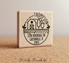 Farm Address Stamp, Return Address Stamp with Barn and Farm - PinkPueblo