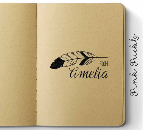 Personalized Feather Custom Rubber Stamp, Custom Tribal Name Stamp - PinkPueblo