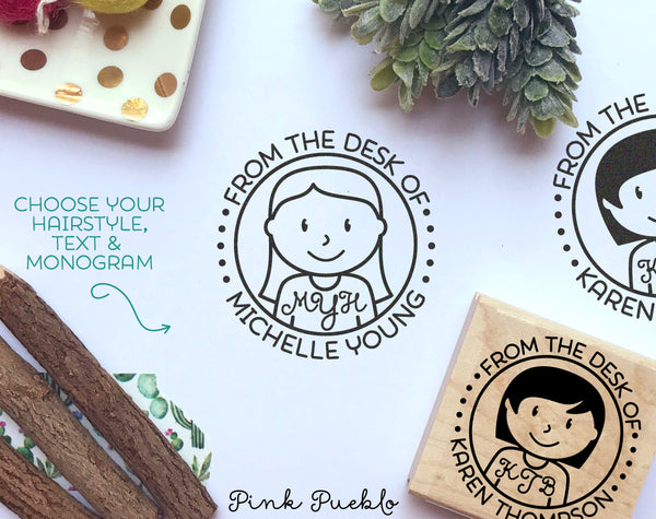 Personalized Monogram Stamp, From the Desk of Stamp, Custom Stamp for Monogram Stationery - PinkPueblo