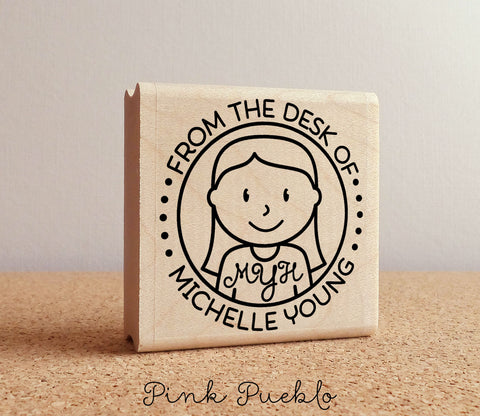 Personalized Monogram Stamp, From the Desk of Stamp, Custom Stamp for Monogram Stationery