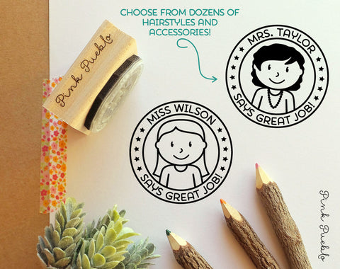 Personalized Female Teacher Rubber Stamp, Personalized Teacher Gift - Choose Hairstyle and Accessories - PinkPueblo