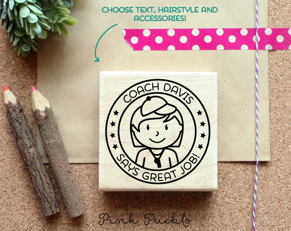 Personalized Female Coach Rubber Stamp, Coach or Teacher Stamp, Personalized Coach or Teacher Gift - Choose Hairstyle and Accessories - PinkPueblo