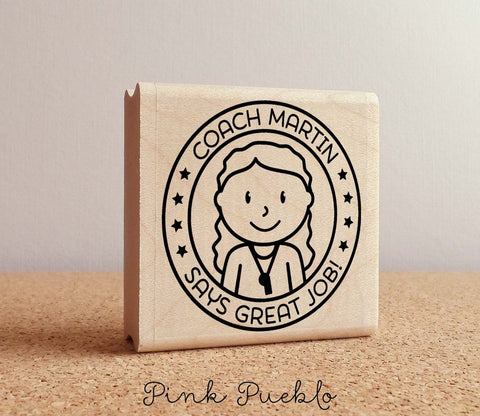 Personalized Female Coach Rubber Stamp, Coach or Teacher Stamp, Personalized Coach or Teacher Gift - Choose Hairstyle and Accessories