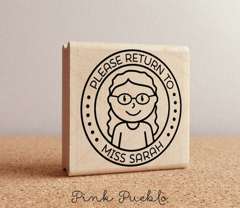 Personalized Teacher Rubber Stamp, Teacher Homework Stamp, Personalized Homework Rubber Stamp - Choose Hairstyle and Accessories - PinkPueblo