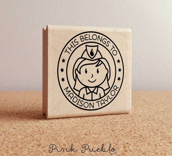 Personalized Firefighter Rubber Stamp for Girls, Custom Fireman Rubber Stamp - Choose Hairstyle and Accessories - PinkPueblo