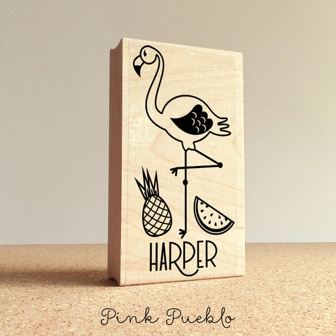 Personalized Flamingo Stamp, Great for a Flamingo Party or Flamingo Gifts - PinkPueblo