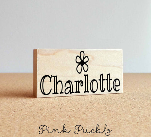 Personalized Name Rubber Stamp with Flower