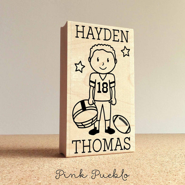 Personalized Football Rubber Stamp, Children's Football Stamp - Choose Hairstyle and Accessories - PinkPueblo