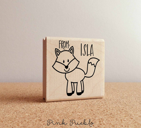 Personalized Fox Rubber Stamp, Custom Forest or Woodland Stamp