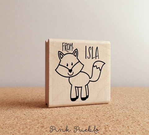 Personalized Fox Rubber Stamp, Custom Forest or Woodland Stamp - PinkPueblo
