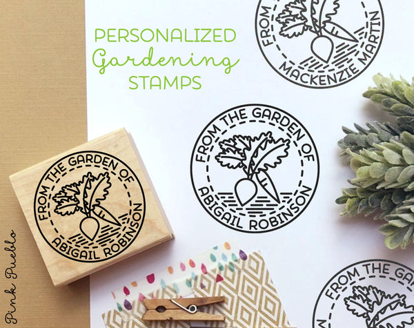 From the Garden of Stamp, Gardener Gift, Gardening Gift, Canning Label Stamp - Personalized - PinkPueblo